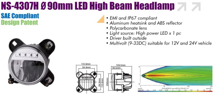 90mm LED High Beam Headlamp with Position Lamp, NS-4307H